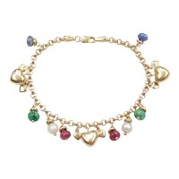 """7 3/8"""" 14k Gold Emerald, Sapphire, Ruby and Cultured Pearl Bead, Heart Charm Bracelet"""