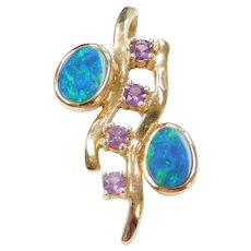 14k Gold Opal and Amethyst Moderninst Pendant
