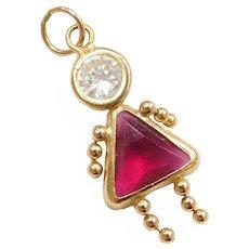 14k Gold July Birthstone Girl Charm ~ Faux Diamond, Faux Ruby