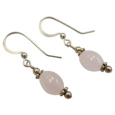 Sterling Silver Rose Quartz Bead Earrings