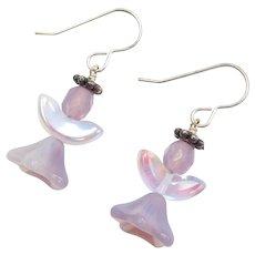 Sterling Silver Purple Glass Angel Earrings