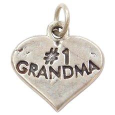 Sterling Silver #1 Grandma Heart Charm