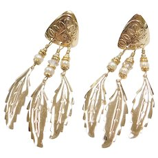 Gold Tone Costume Feather Dangle Earrings
