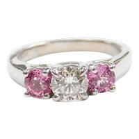 1.29 ctw Pink Sapphire and Diamond Three Stone Past, Present and Future Engagement Ring 14k White Gold