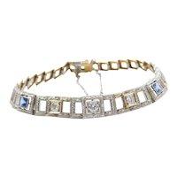 "6 5/8"" Art Deco Platinum and 14k Yellow Gold 1.00 ctw Diamond and Sapphire Bracelet"
