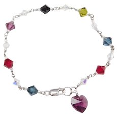 """7 1/4"""" Sterling Silver Glass Bead Bracelet with Heart Charm"""