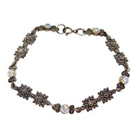 """7"""" Sterling Silver Marcasite and Aurora Borealis Bracelet"""