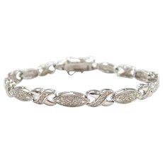 "7 1/4"" Sterling Silver 1.09 ctw Diamond Bracelet"