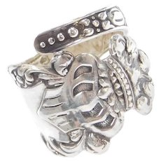 Edwardian Sterling Silver Crown Spoon Ring