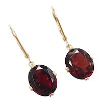 7.50 ctw Garnet Drop Lever Back Earrings 14k Yellow Gold