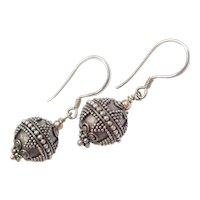 Sterling Silver Ornate Bead Drop Earrings