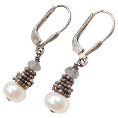 Sterling Silver Cultured Pearl and Labradorite Earrings with Lever Backs
