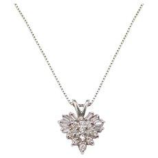 "21 1/2"" .28 ctw Diamond Heart Necklace 14k White Gold"