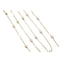 """25"""" Long Cultured Pearl Cable Link and Bar Station Necklace 14k Gold"""