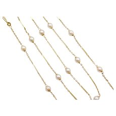 "25"" Long Cultured Pearl Cable Link and Bar Station Necklace 14k Gold"
