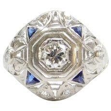 Art Deco Platinum .81 ctw Sapphire and Diamond Ring