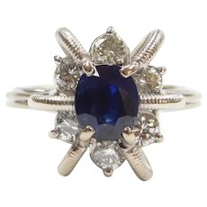 Funky 1.85 ctw Sapphire and Diamond Ring 14k White Gold