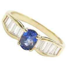1.11 ctw Natural Sapphire and Diamond Ring 18k Gold