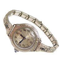 Art Deco Ladies Filigree Watch with Sapphire Accents 12k Gold Filled
