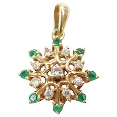 14k Gold .57 ctw Natural Emerald and Diamond Starburst / Snowflake Pendant
