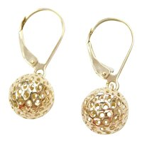 14k Gold Ball Lever Back Drop Earrings