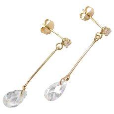 14k Gold Faux Diamond Briolette Dangle Earrings