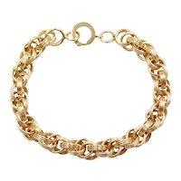 """Edwardian 7 1/2"""" 14k Gold Link Bracelet"""