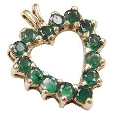14k Gold Natural Emerald Heart Pendant