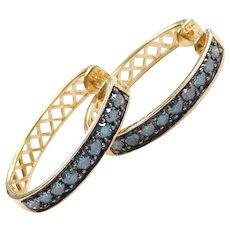 .81 ctw Blue Diamond Hoop Earrings 14k Gold