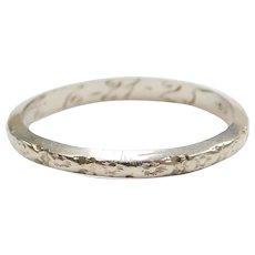 Art Deco 18k White Gold Wedding Band Ring