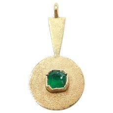 18k Gold .20 Carat Natural Emerald Pendant