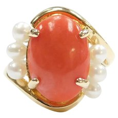 18k Gold Coral and Cultured Pearl Ring
