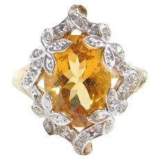 5.16 ctw Citrine and Diamond Flower / Four Leaf Clover Ring 10k Gold