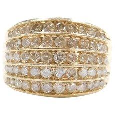1.55 ctw Graduated Diamond Dome Ring 14k Gold