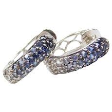 .56 ctw Gradient Blue to White Sapphire Huggie Hoop Earrings 14k White Gold