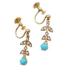 Edwardian 9k Gold Turquoise and Seed Pearl Earrings