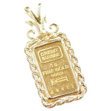 1 Gram Fine Gold Credit Suisse Pendant with 14k Gold Bezel and Diamond Accent