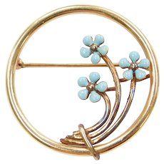 Victorian Blue Enamel Flower Circle Pin / Brooch 14k Gold