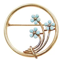 Victorian Forget-Me-Not Flower Pin/Brooch 14k Gold, Enamel