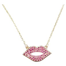.28 ctw Ruby Kiss Lips Necklace 14k Yellow Gold