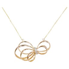 Retro .13 ctw Diamond Funky Ribbon Bow Necklace 18k Rose Gold and 14k Yellow Gold