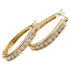 .72 ctw Diamond Hoop Earrings 14k Gold