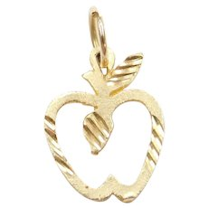 14k Gold Apple Charm
