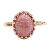 Bohemian Carved Rhodocrosite Scarab Ring 14k ROSE Gold