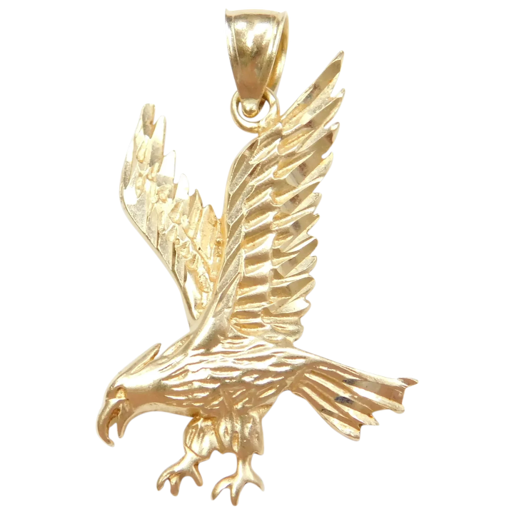 EAGLE 14K GOLD OVER STERLING SILVER DIAMOND ACCENT  PENDANT CHARM NECKLACE