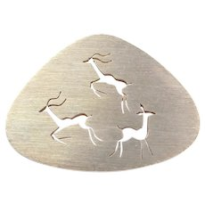 South Africa 14k Gold Antelope Pin / Brooch / Impala