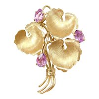 18k Gold 2.25 ctw Pink Sapphire Leaf Bouquet Pin