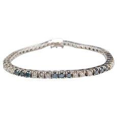 Beautiful 5.40 ctw Blue and White Diamond Tennis Bracelet 14k White Gold