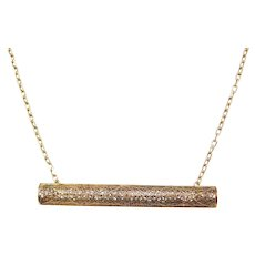 Edwardian Filigree Bar Necklace 14k Gold