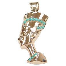 14k Gold BIG Nefertiti Pendant with Turquoise Detail